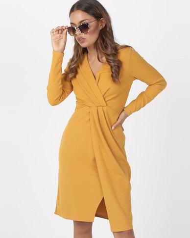 Utopia  Knit Wrap Dress Mustard
