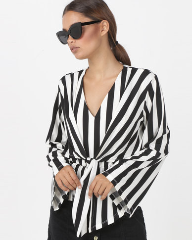 Utopia Stripe Tie Front Top Black/Ivory