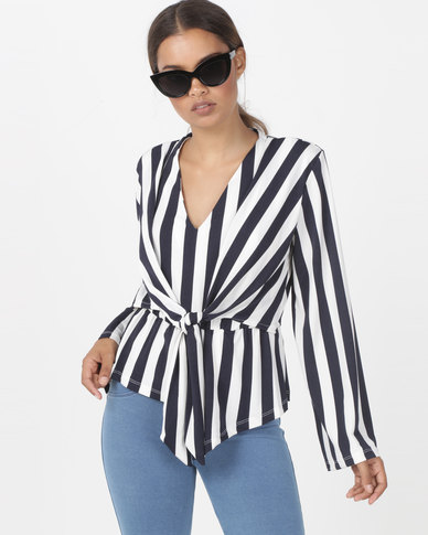 Utopia Stripe Tie Front Top Navy/Ivory