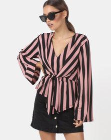 Utopia Stripe Tie Front Top Pink/Ivory