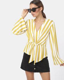 Utopia Stripe Tie Front Top Yellow/Ivory