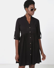 Utopia Ruched Shirt Dress Black