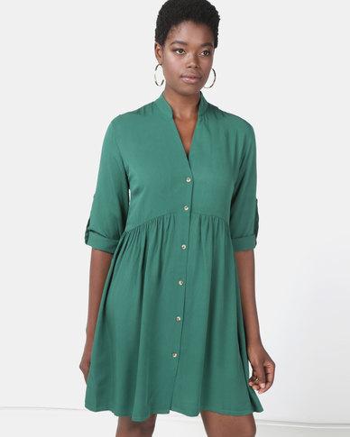 Utopia Ruched Shirt Dress Green