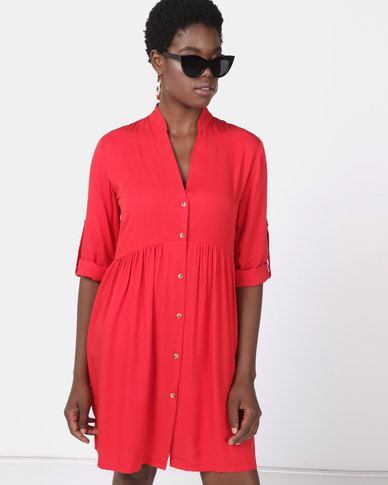 Utopia Ruched Shirt Dress Red