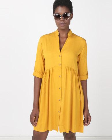 Utopia Ruched Shirt Dress Yellow