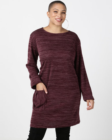 Utopia Plus Burgundy Cut n Sew Dress With Pocket