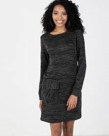 Utopia Cut n Sew Dress With Pockets Black
