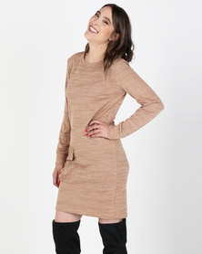 Utopia Cut n Sew Dress With Pockets Camel