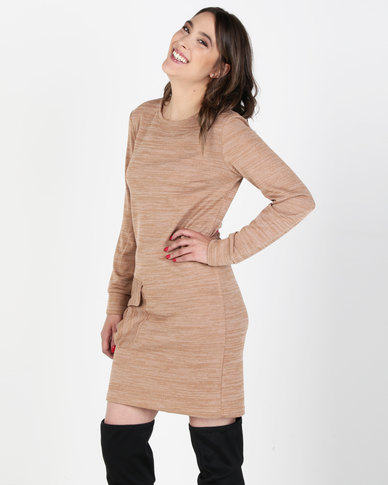 Utopia Cut n Sew Dress With Pockets Camel