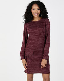 Utopia Cut n Sew Dress With Pockets Burgundy