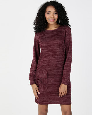 06c1eb53b12a36 Utopia Cut n Sew Dress With Pockets Burgundy