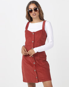Utopia Cord Button Through Corduroy Pinafore Terracotta