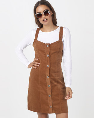 1291ecdf8003 Utopia Cord Button Through Corduroy Pinafore Hazel