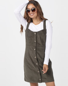 Utopia Cord Button Through Corduroy Pinafore Olive