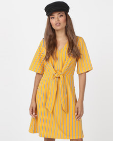 Utopia Knot Front Dress Yellow/Black Stripe