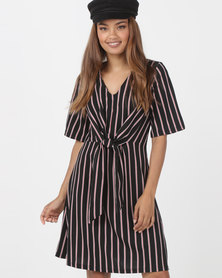 Utopia Knot Front Dress Black/Red Stripe