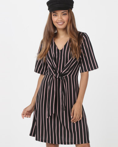 Utopia Knot Front Dress Black/Red Stripe