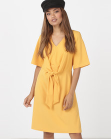 Utopia Knot Front Dress Daffodil Yellow