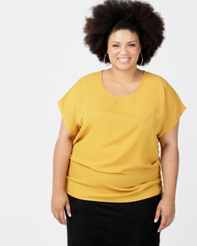Utopia Plus Georgette Side Tuck Top Mustard