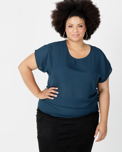 Utopia Plus Georgette Side Tuck Top Green