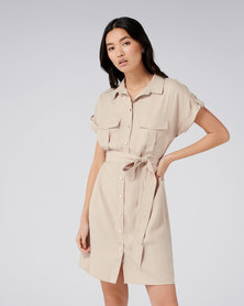 Forever New Estelle Utility Mini Dress Beige