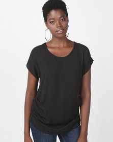 Utopia Georgette Side Tuck Top Black