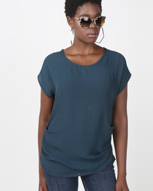 Utopia Georgette Side Tuck Top Green