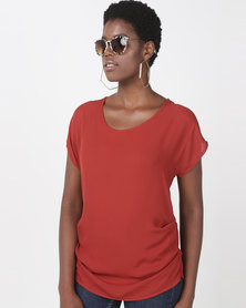 Utopia Georgette Side Tuck Top Burnt Orange