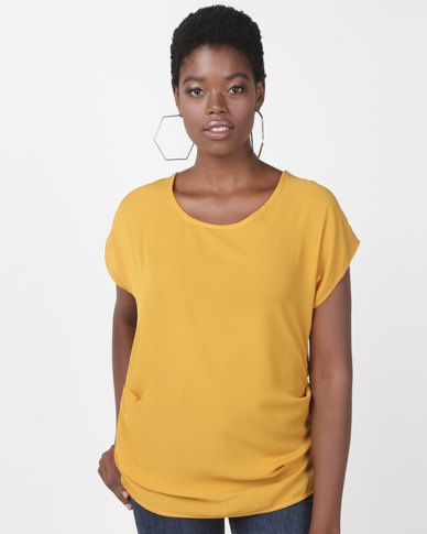 Utopia Georgette Side Tuck Top Mustard