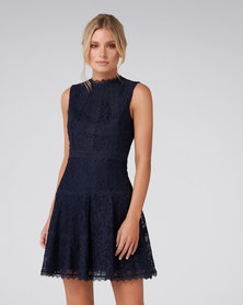 Forever New Harriet Lace A-Line Trim Dress Navy