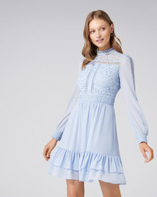 Laurina Lace Skater Dress Blue