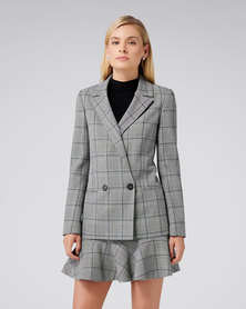 Forever New Lola Check Jacket Blue Check