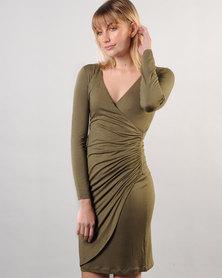 Marique Yssel Petal Wrap Dress - Olive