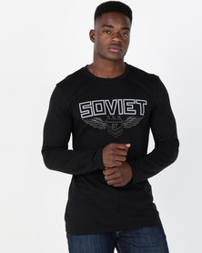 Soviet M Riderwood Long Sleeve Printed T-Shirt Black