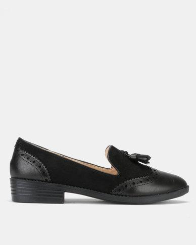 Jada Brogue Tassel Loafers Black
