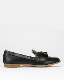Jada High Vamp Tassel Loafers Black