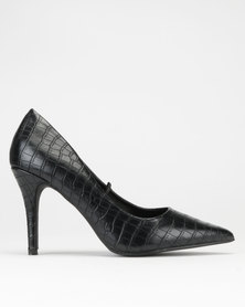 Dolce Vita Essence Court Heels Black Croc