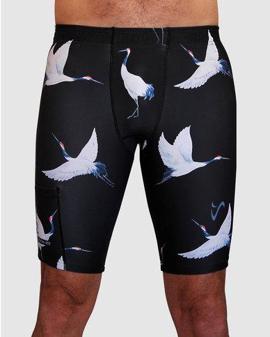 d50dff913aaa3 Vivolicious Cranes Men s TechFit Short Tights Black White