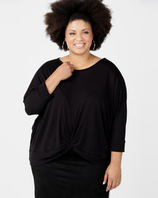 Utopia Plus Knot Knit Top Black