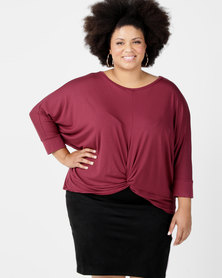 Utopia Plus Knot Knit Top Burgundy