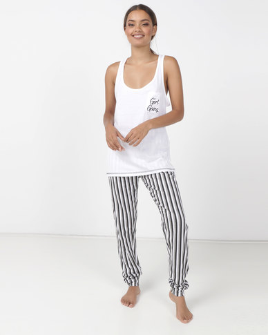 Brave Soul Printed Stripe Jersey Bottoms With Girl Gang Vest Multi