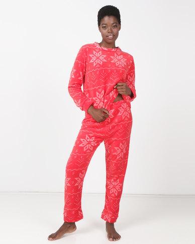Brave Soul Fairisle Fluffy Jog and Sweatshirt PJ Set Red
