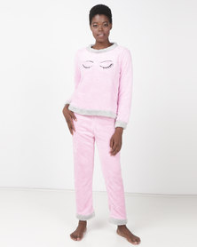 Brave Soul Wink Fluffy Jog and Sweatshirt PJ Set Pink