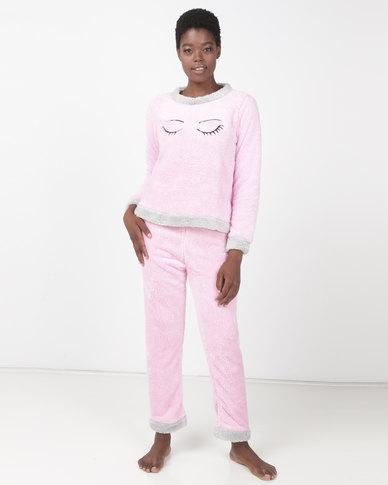 Brave Soul Wink Fluffy Jog and Sweatshirt PJ Set Pink