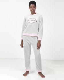 Brave Soul Lips Fluffy Jog and Sweatshirt PJ Set Grey