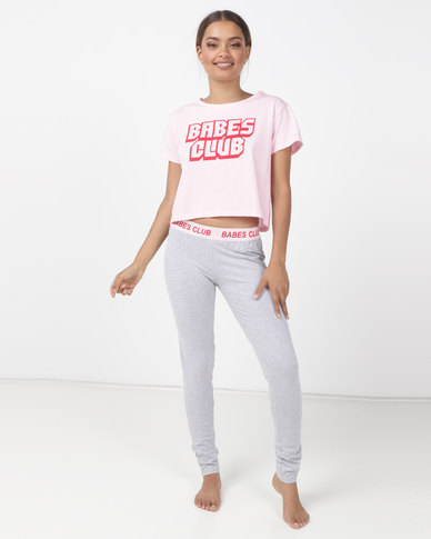 Brave Soul Leggings With Branded Tape and Babes Club Crop Tee Pink/Grey