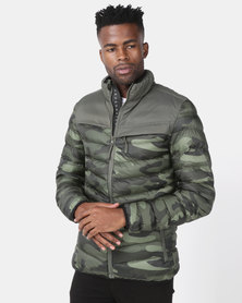 Crosshatch Chankford Quilted Puffer Jacket Camo Green