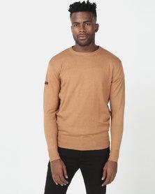 Crosshatch Lempton Cotton/Cashmere Knitwear Brown