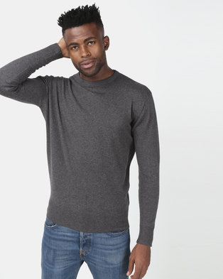 Crosshatch Lempton Cotton/Cashmere Knitwear Charcoal