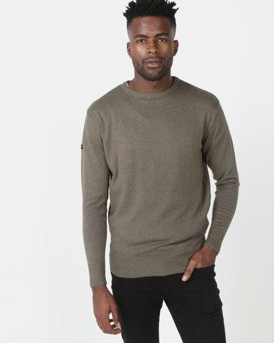 Crosshatch Lempton Cotton/Cashmere Knitwear Olive